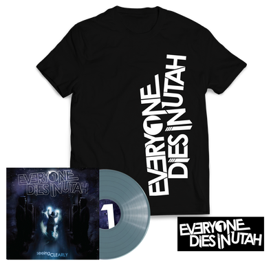 "Everyone Dies In Utah - ""Seeing Clearly"" Translucent Blue Vinyl T-Shirt Bundle"
