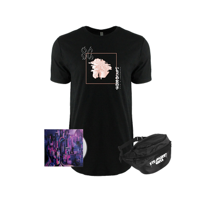 "Strawberry Girls ""Tasmanian Glow"" Glitch Horse Drop Cut Tee/Fanny Pack Bundle"