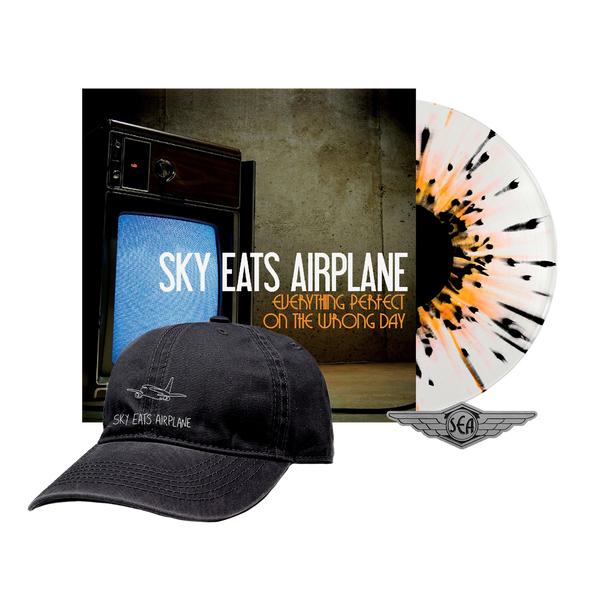 Sky Eats Airplane - E.P.O.T.W.D. Clear w/ Orange + Black Splatter Vinyl + Hat Bundle
