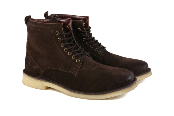 Hound and Hammer, Men's Laced Suede Boots, Chocolate