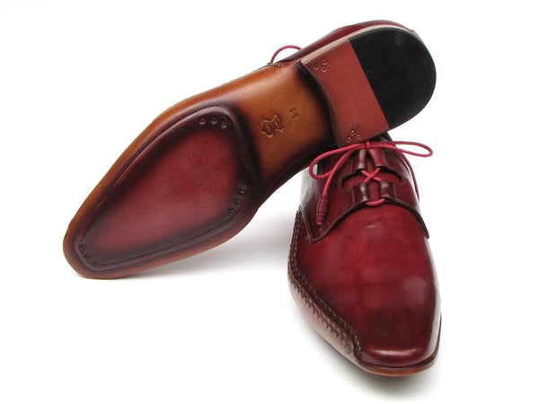 Paul Parkman Men's Ghillie Lacing Side Handsewn Oxfords  Dress Shoes - Burgundy Leather Upper and Leather Sole (ID#022-BUR)