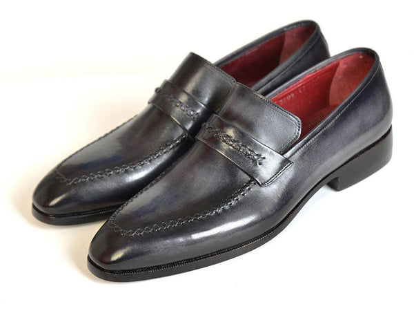 Paul Parkman Gray & Black Men's Loafers for Men (ID#068-GRAY)