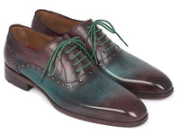 Paul Parkman Men's Green & Bordeaux Plain Toe Oxfords (ID#GH88BB)