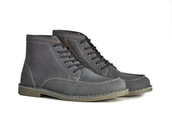 Hound and Hammer Men's Laced Suede Boots, Steel Grey