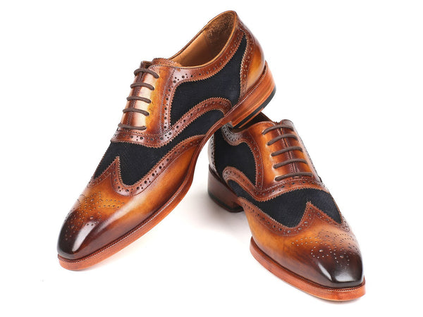 Paul Parkman Brown Leather & Navy Suede Wingtip Oxfords (ID#228NV65)