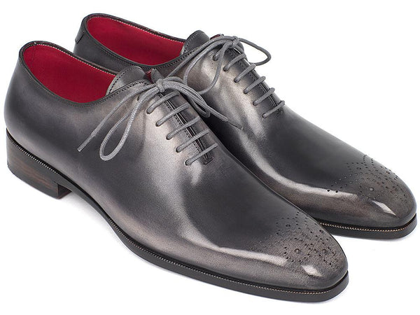 Paul Parkman Men's Gray & Black Wholecut Oxfords (ID#KR254GRY)