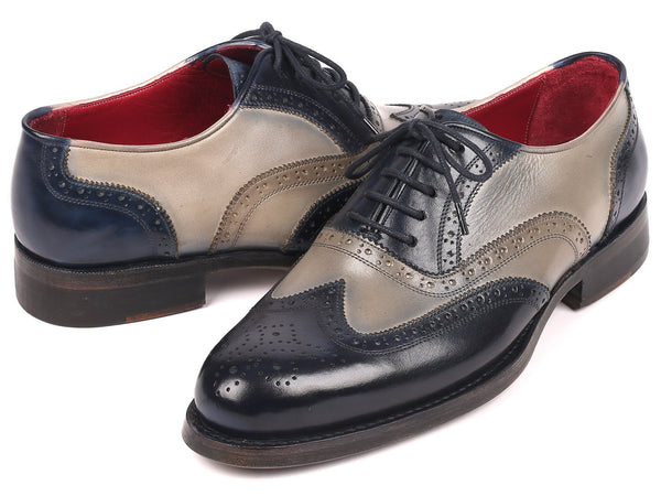 Paul Parkman Navy & Gray Wingtip Oxfords Goodyear Welted (ID#027-NVYGRY)