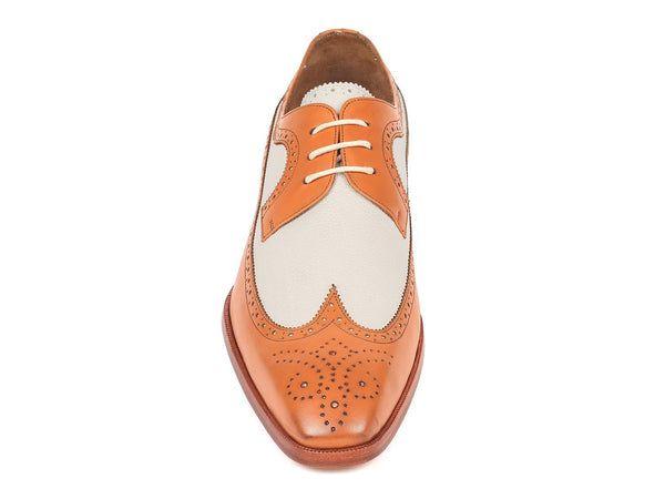 Paul Parkman Dual Tone Wingtip Derby Shoes Cognac & Cream (ID#924CC55)