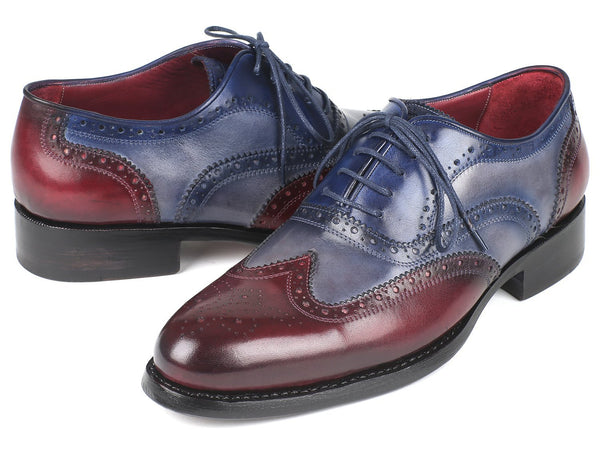 Paul Parkman Wingtip Oxfords Goodyear Welted Bordeuax Grey Blue (ID#BR027GRBL)