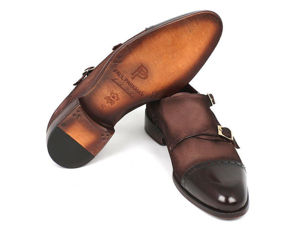 Paul Parkman Men's Double Monkstrap Captoe- Brown / Beige Suede (ID#FK09)