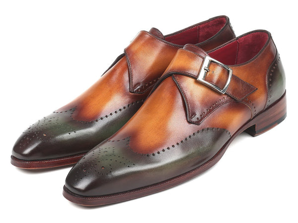 Paul Parkman Single Monkstraps Green & Camel (ID#944-GRN-CML)