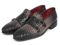 Paul Parkman Gray Woven & Croc Embossed Monkstraps (ID#HK588-GRY)
