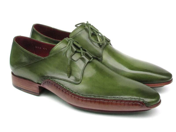 Paul Parkman Men's Ghillie Lacing Side Handsewn Dress Shoes - Green Leather Upper and Leather Sole (ID#022-GREEN)