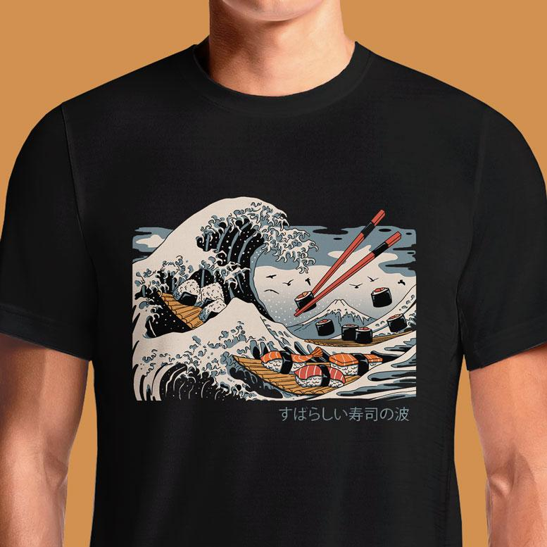 The Great Sushi Wave  - Buy Cool Graphic T-shirt for Men Women Online in India | OSOM