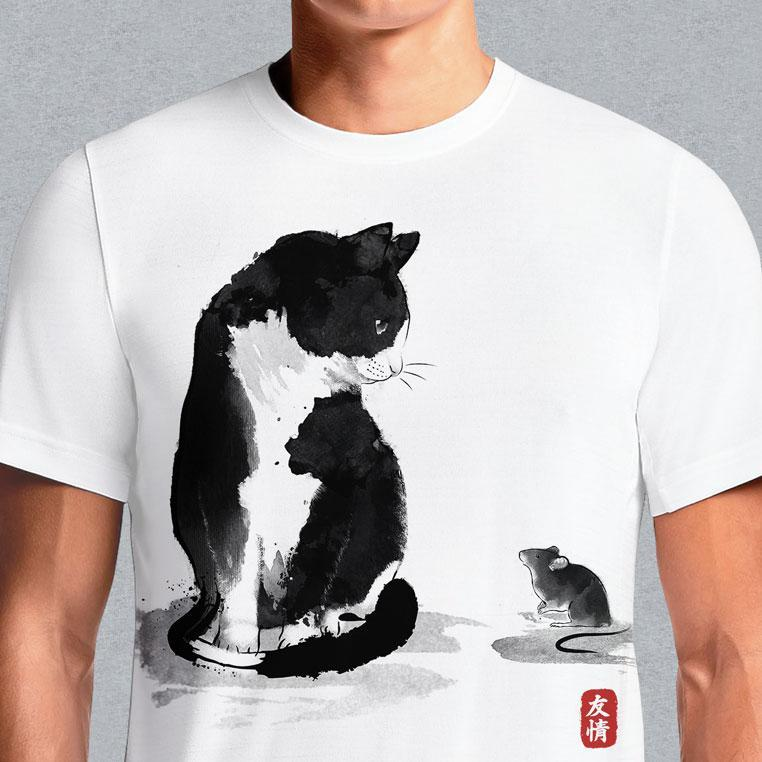 The Cat And The Little Mouse  - Buy Cool Graphic T-shirt for Men Women Online in India | OSOM