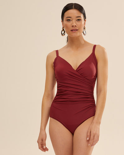 Wrap Breastfeeding Swimsuit - Ruby Wine - Peachymama US 1
