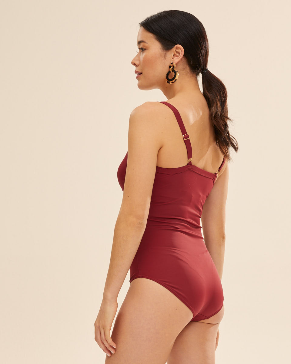 Wrap Breastfeeding Swimsuit - Ruby Wine - Peachymama US 3