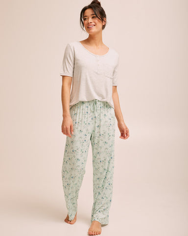 Button Tee Pyjama Set - Grey - Peachymama - 1