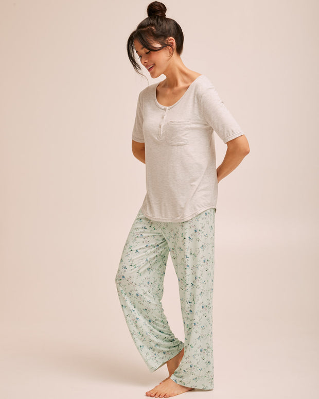 Button Tee Pyjama Set - Grey - Peachymama - 6