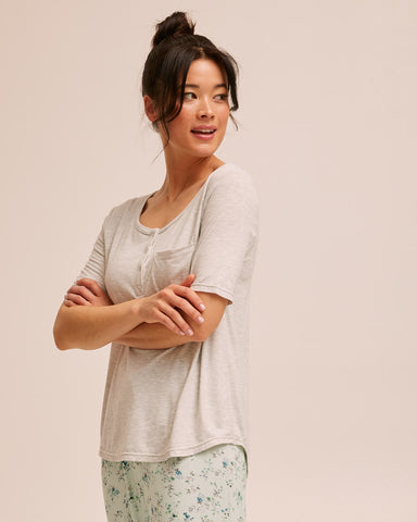 Button Tee Pyjama Set - Grey - Peachymama - 5