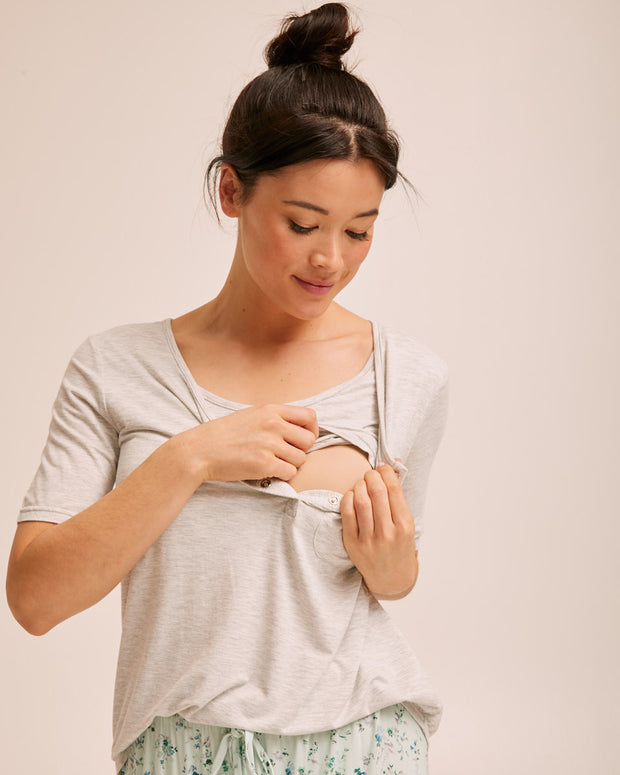 Button Tee Pyjama Set - Grey - Peachymama - 2