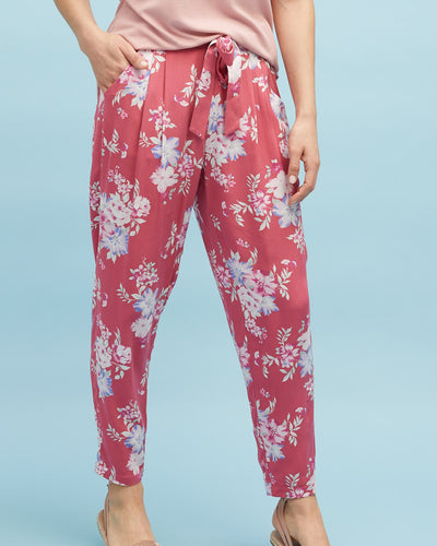 Harem Postpartum Pants - Deep Rose - Peachymama - 1