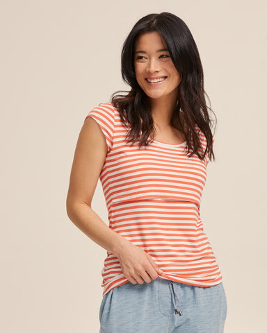 Bamboo Cap Sleeve Nursing Top - Coral Stripe - Peachymama - 1