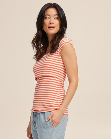Bamboo Cap Sleeve Nursing Top - Coral Stripe - Peachymama - 5