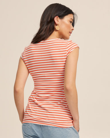 Bamboo Cap Sleeve Nursing Top - Coral Stripe - Peachymama - 3