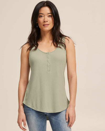 Ribbed Breastfeeding Tank - Khaki - Peachymama - 1