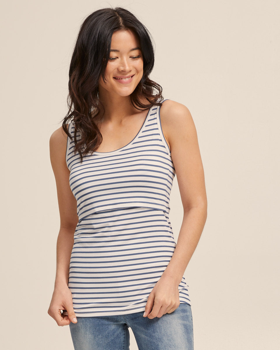 Bamboo Nursing Tank in Teal Stripe - Peachymama - 4