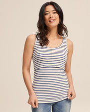 Bamboo Nursing Tank in Teal Stripe - Peachymama - 1
