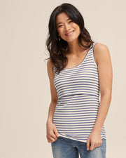 Bamboo Nursing Tank in Teal Stripe - Peachymama - 3
