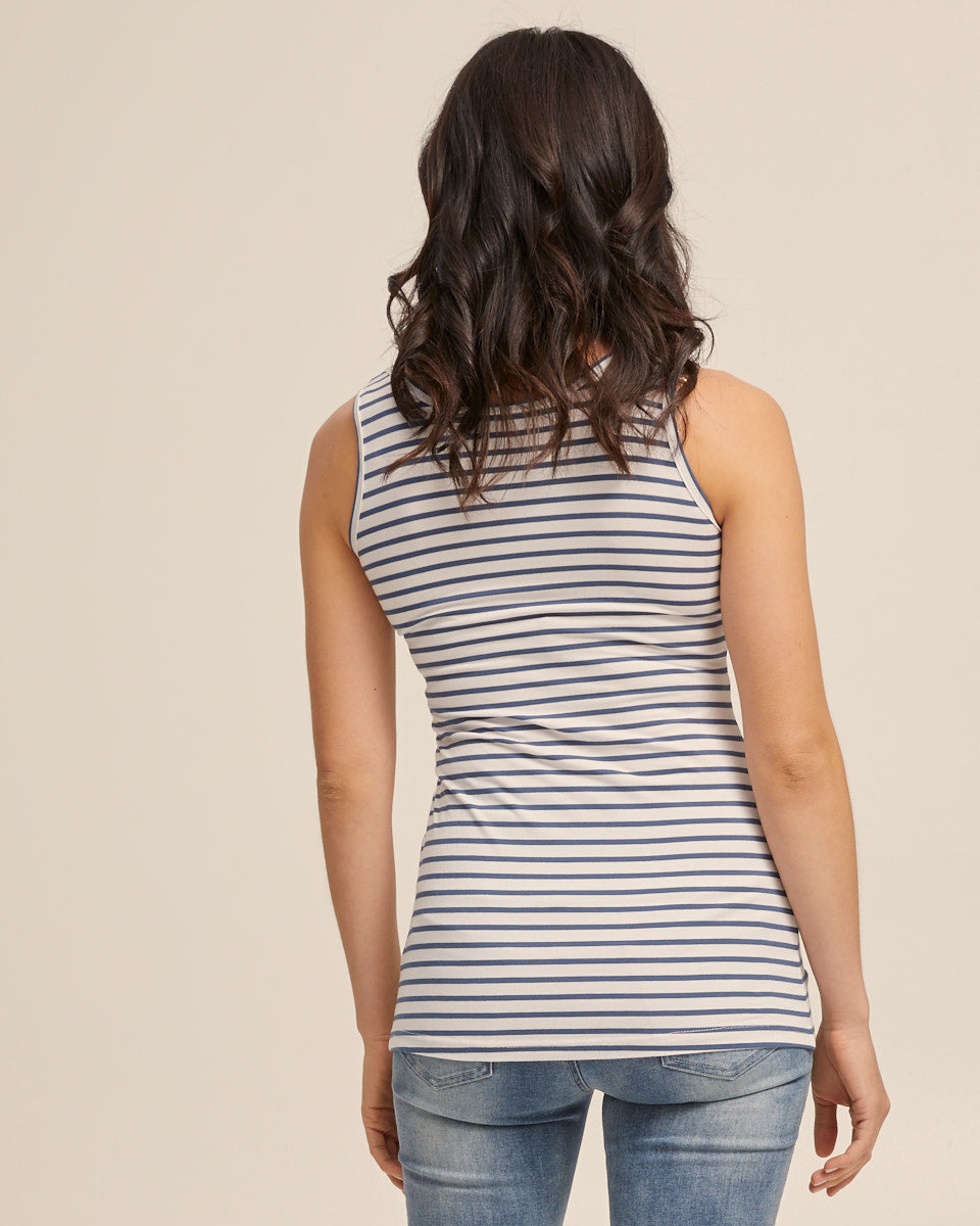 Bamboo Nursing Tank in Teal Stripe - Peachymama - 5