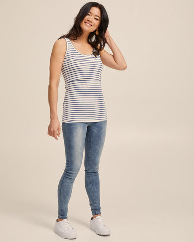 Bamboo Nursing Tank in Teal Stripe - Peachymama - 6