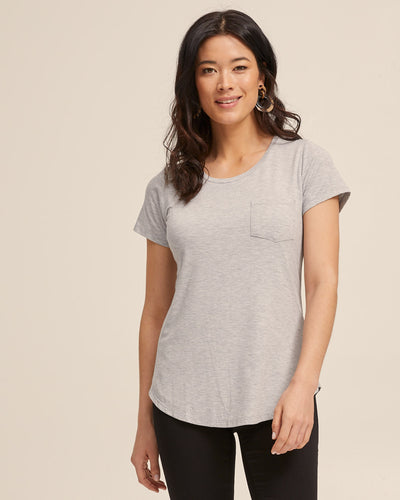 Dawn Gray bamboo nursing tee by Peachymama America 1