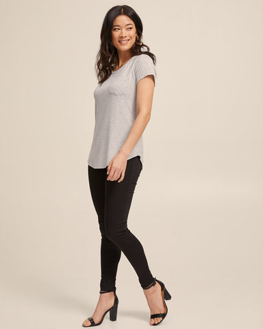 Dawn Gray bamboo nursing tee by Peachymama America 2
