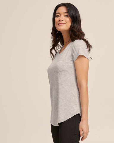 Dawn Gray bamboo nursing tee by Peachymama America 4