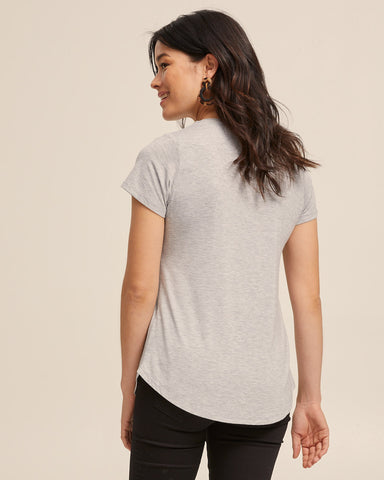 Dawn Gray bamboo nursing tee by Peachymama America 5