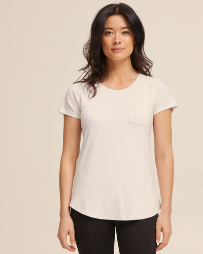 Cool White bamboo nursing tee by Peachymama America 1