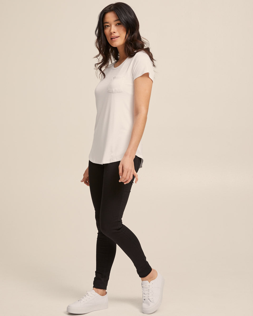 Cool White bamboo nursing tee by Peachymama America 2