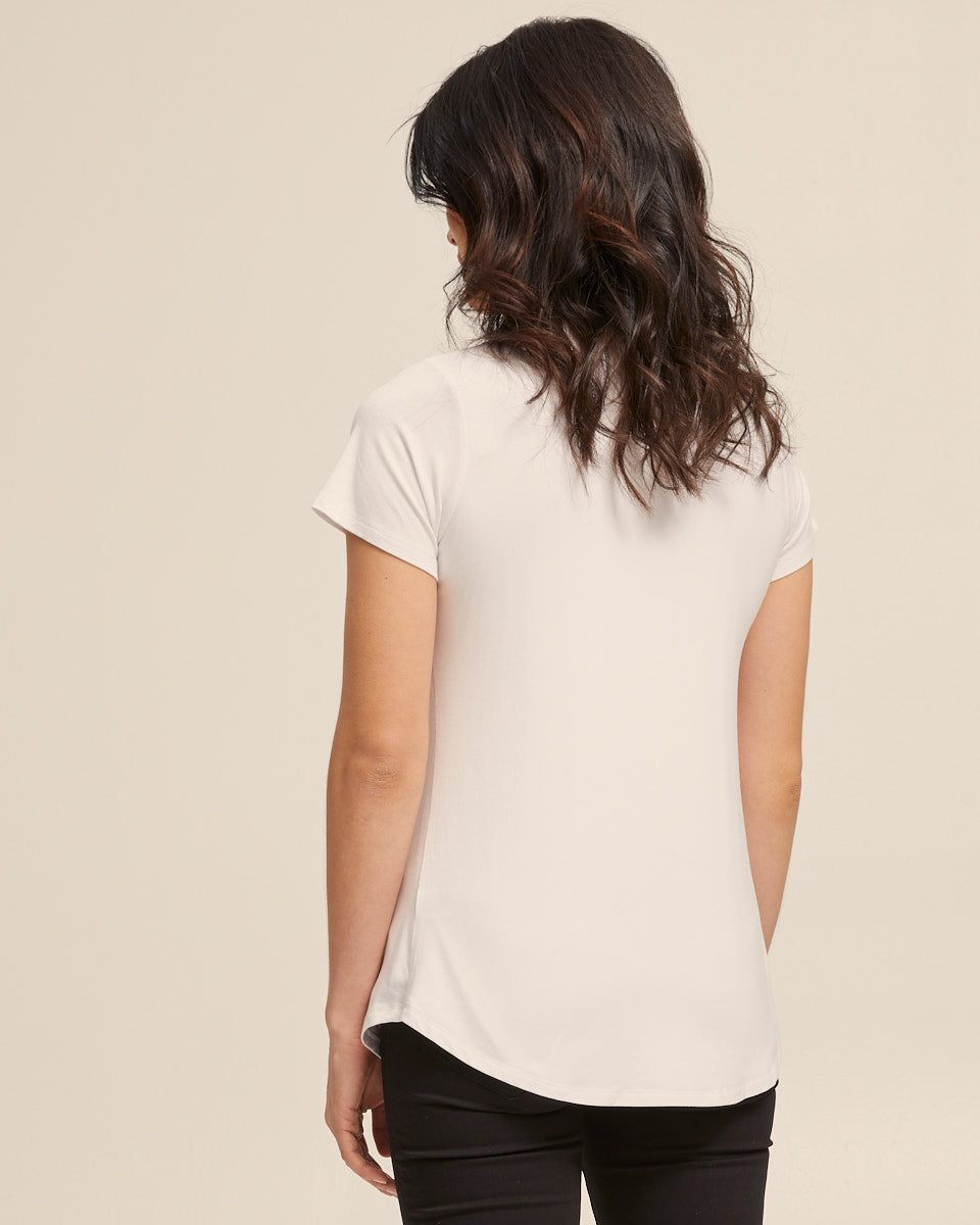 Cool White bamboo nursing tee by Peachymama America 3