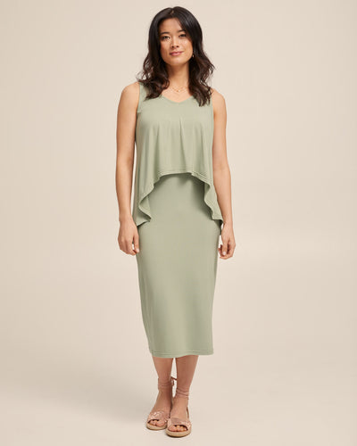 Waterfall Bamboo Nursing Dress - Khaki - Peachymama - 1