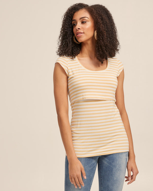 Bamboo Cap Sleeve Nursing Top - Sunshine Stripe - Peachymama - 4