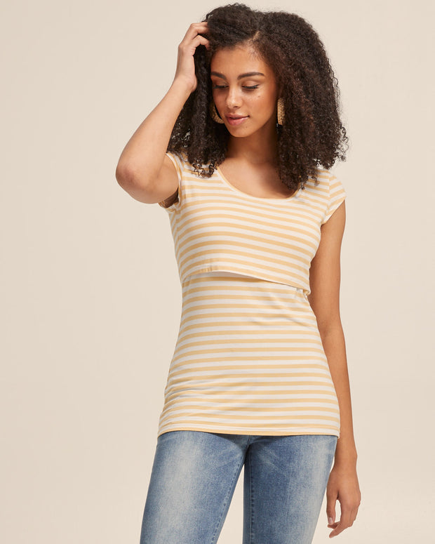Bamboo Cap Sleeve Nursing Top - Sunshine Stripe - Peachymama - 5