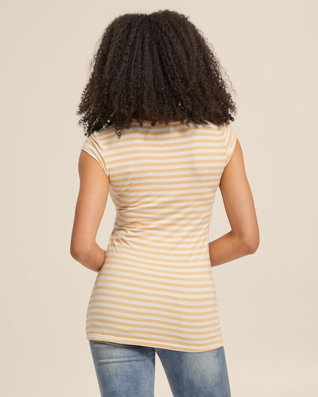 Bamboo Cap Sleeve Nursing Top - Sunshine Stripe - Peachymama - 3