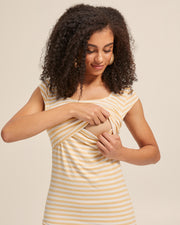 Bamboo Cap Sleeve Nursing Top - Sunshine Stripe - Peachymama - 2