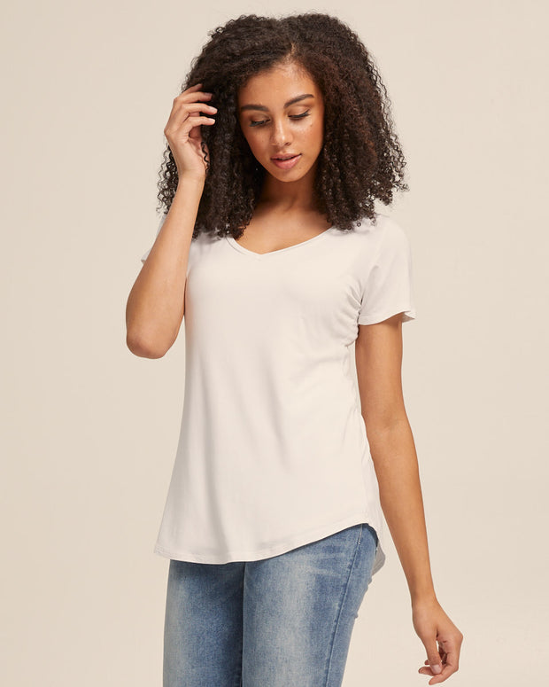 V Neck Bamboo Nursing Tee - White - Peachymama - 1