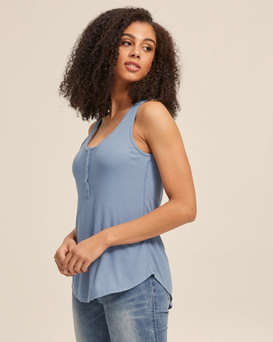 Ribbed Breastfeeding Tank - Blue - Peachymama - 5
