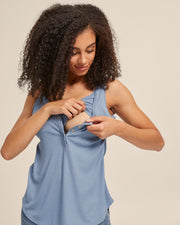 Ribbed Breastfeeding Tank - Blue - Peachymama - 2